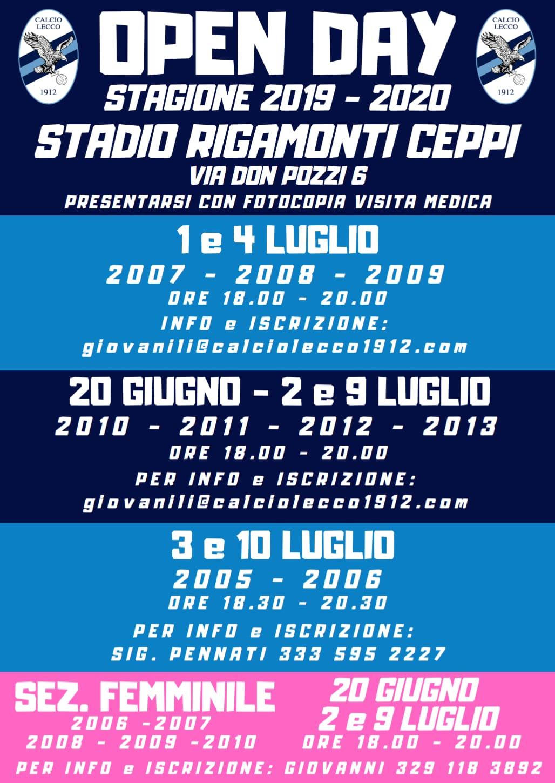 Open Day della Calcio Lecco 1912 per la stagione 2019/20: date e orari