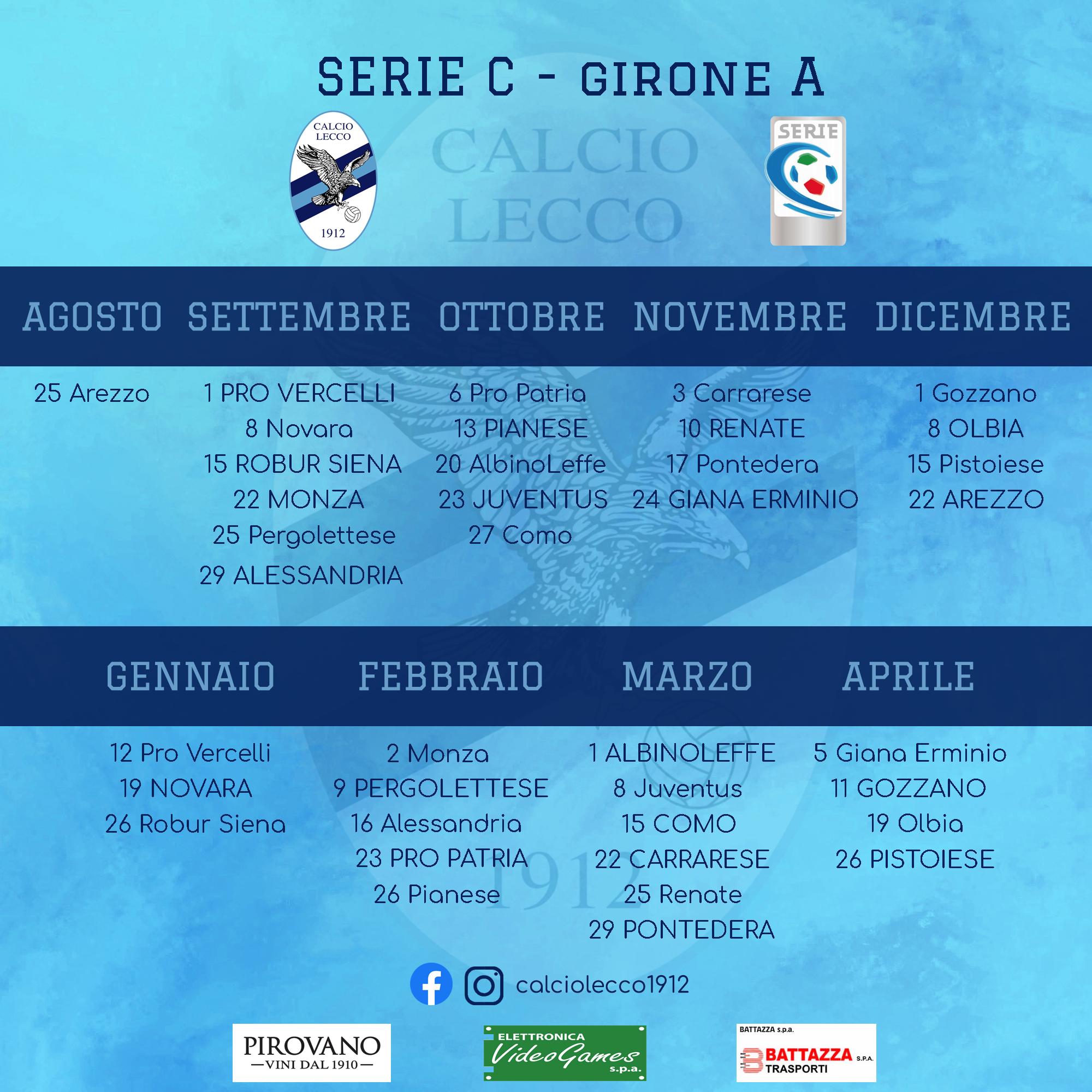 Arezzo Calcio Calendario.Calcio Lecco 1912 Home Calcio Lecco 1912